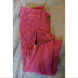 Maroon Sanded Sateen Cargo Pants